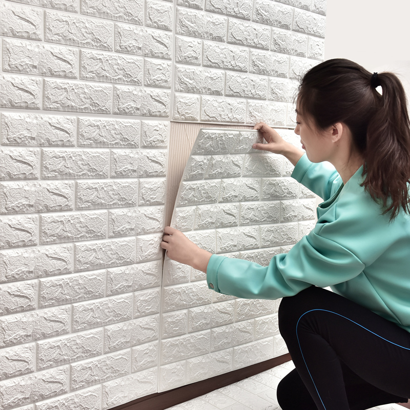 77*70cm 3D PE Foam Wall Stickers White Brick Waterproof DIY Home Room Decor