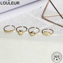 LouLeur Goldene 925 Sterling Silber Ring Mode Geometrie Ringe für Frauen Geöffnet Einstellbare Ring Frauen Silber 925 Schmuck