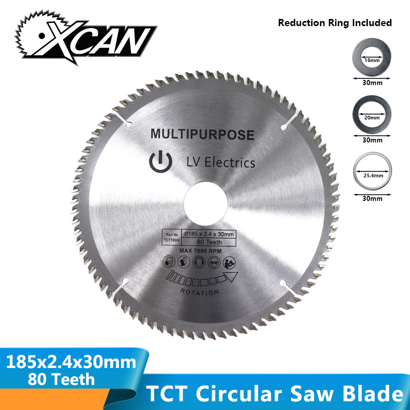XCAN 1pc 185mm 80Teeth Wood Saw Blade TCT Circular Blade Wood Cutting Disc Carbide Tipped Saw Blade