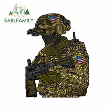Earlfamily 13cm x 9.8cm para os eua soldado dos desenhos animados criativo decalque engraçado adesivos de carro à prova dlaptop água portátil pára-brisa carro assessoires