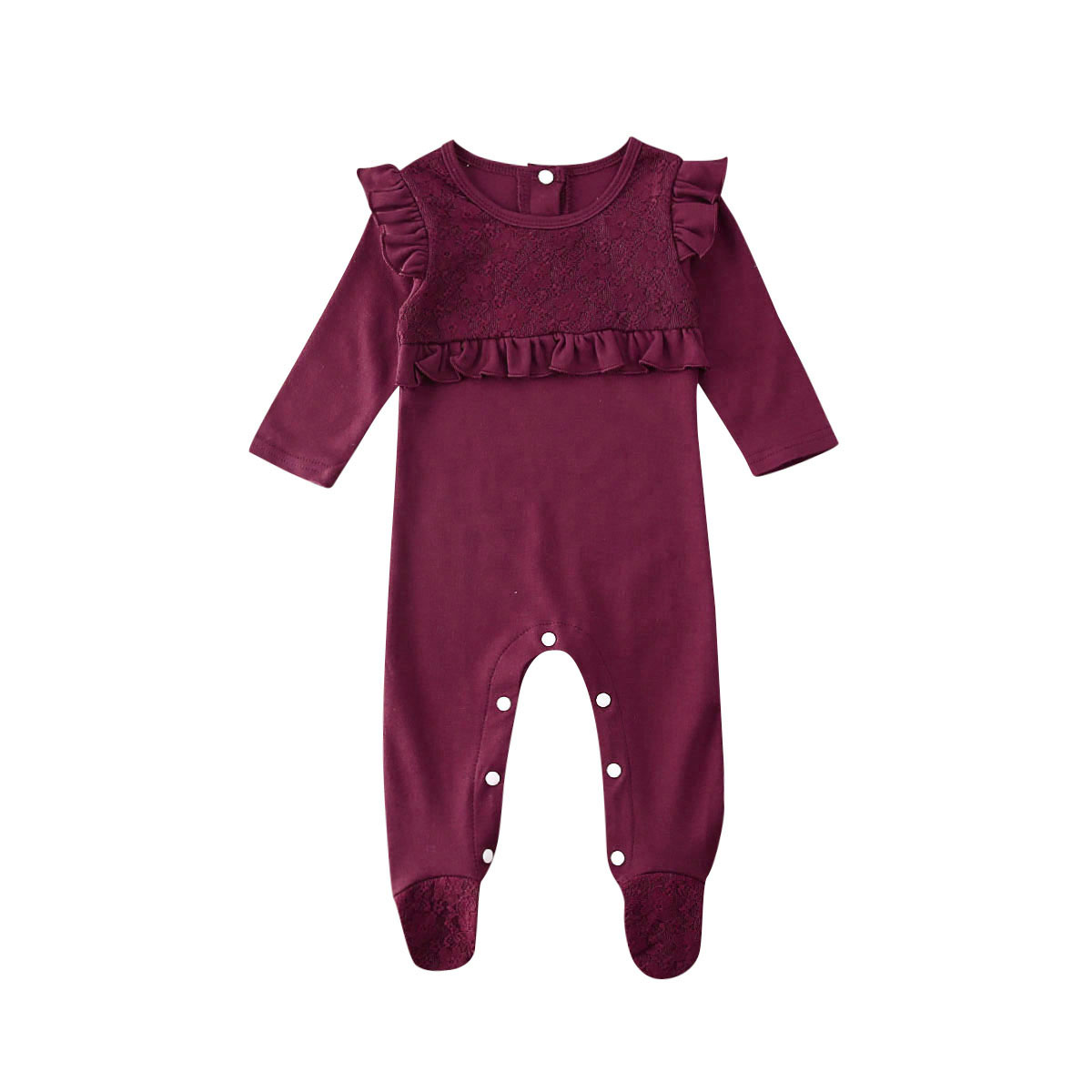 Pudcoco Newborn Baby Girl Clothes Lace Soild Jumpsuits Clothing Princess Girls Footies For 2020 Spring Baby Body Suits