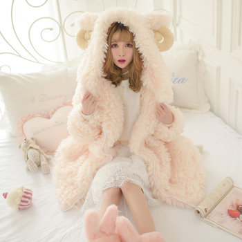 Autumn Winter Sweet Women's Faux Fur Coat Hooded With Cute Ears Decoration Thick Warm Outwear Girls Coats A62 faux fur overlay slippers with rabbit ears