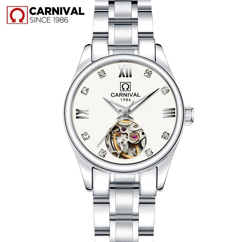 Лидирующий бренд CARNIVAL Tourbillon автоматические часы для женщин высшего качества Серебряные женские часы 2019 модные водонепроницаемые женские ч