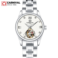 Top brand CARNIVAL Tourbillon Automatic Watch Women Top quality Silver ladies Watches 2019 Fashion Waterproof Women watches 2019