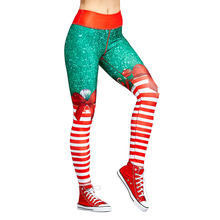 여성용 크리스마스 바지 레이디 캐주얼 탄력성 스키니 레깅스 Mujer High Waist Workout Printing Stretchy Pants leggings