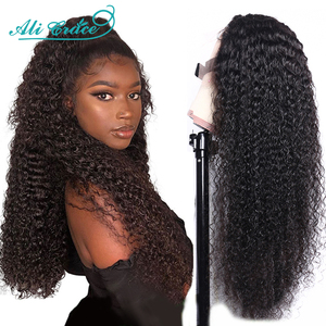 Ali Grace Hair Lace Closure Wig Brazilian Kinky Curly Wigs Pre Plucked Culry Human Hair Lace Wigs for Women 4x4 Lace Closure Wig(China)