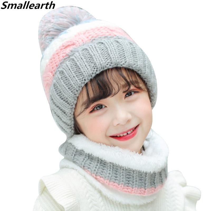 2PCS Kids Winter Hat Ring Scarf Set Kids Winter Children Plus Velvet Knitted Hat Cap Girl Boy Thick Plush Hat Beanies Collar Set
