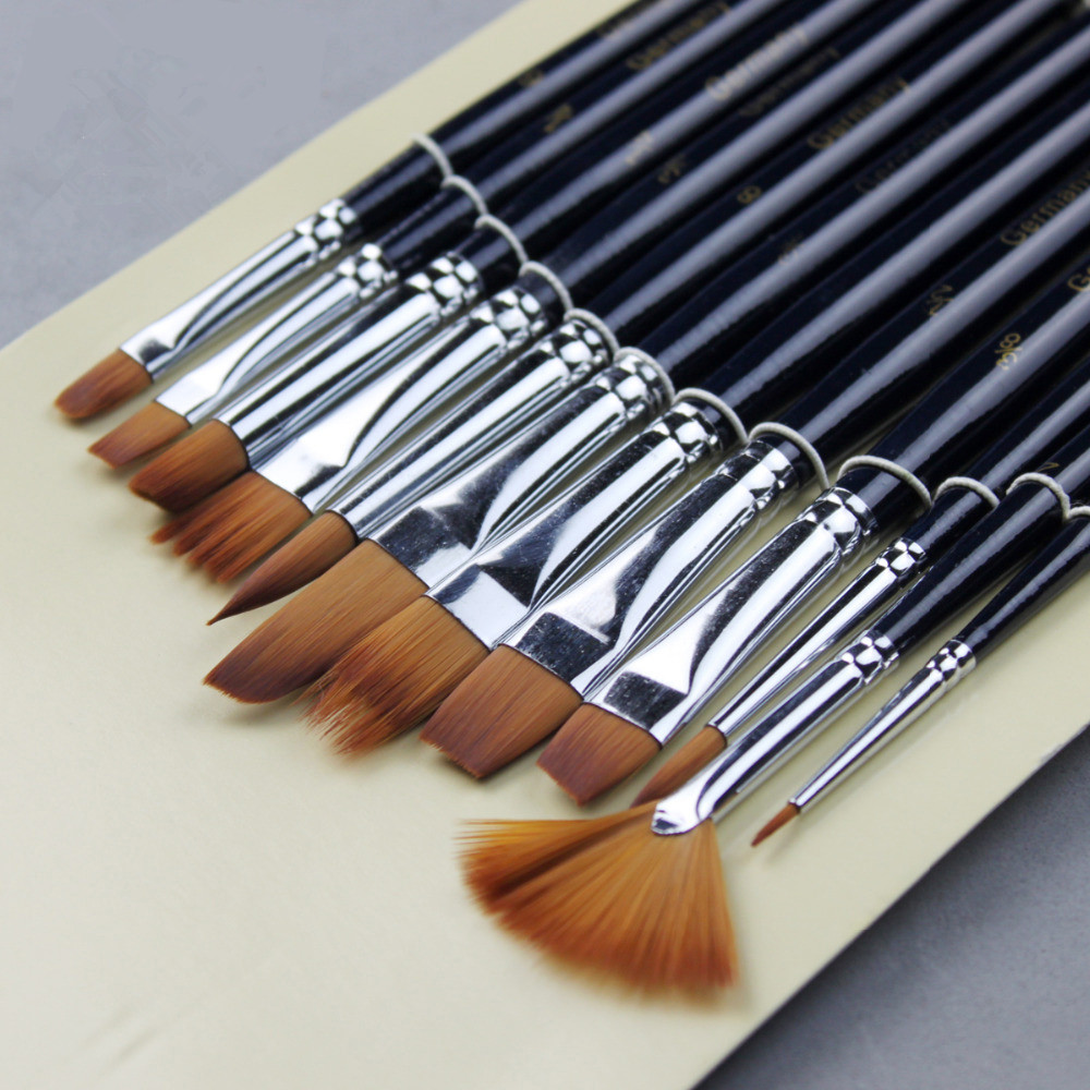BOMEIJIA 12Pcs Paint Brushes Set Nylon Hair Painting Brush for Oil Acrylic Watercolor Artist Acrylic Paints Brush Art Supplies