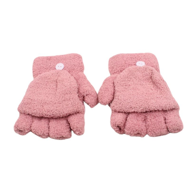 Womens Winter Warm Coral Fleece Fingerless Flip Cap Gloves Half Mittens Button H37C