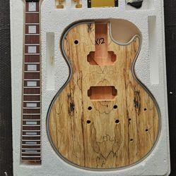 DIY LP Style Electric Guitar Spalted Maple VENEER+ African Mahogany Okoume Body Neck Rosewood Fingerboard Set Guitars Pre-sale
