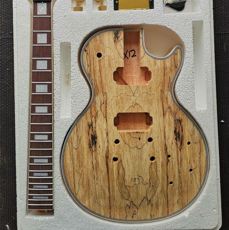 DIY LP Stil Elektro Gitar Spalted Maple Kaplama + Afrika Maun Okoume Vücut Boyun Gülağacı Klavye Seti Gitar ön Satış
