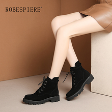 ROBESPIERE New Winter Warm Plush Ankle Boots Quality Cow Suede Round Toe Shoes Women Fashion Pop European Lace Up Snow Boots B55 недорого