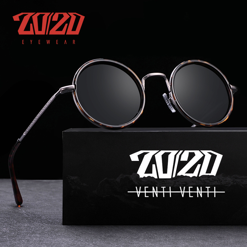 20/20 New Arrival Brand Design Polarized Sunglasses Unisex Alloy Round Frame For Man Driving  UV400 Lens Woman Eyewear AK17124