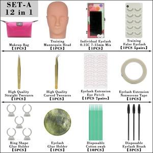 Image 3 - Kimcci False Eyelash Extension Training Kit Exercise Practice Mannequin Head Set Grafting Eyelash Tools Kit Eye Lashes Grafting
