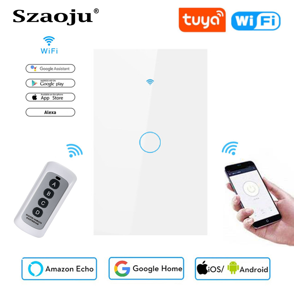 Szaoju WIFI+RF touch wall switch US standard white crystal glass panel Tuya smart,1 Set 1 Way, wall light, Touch screen AC220V