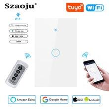 Szaoju WIFI + RF interrupteur mural tactile américain standard panneau de verre en cristal blanc Tuya smart, 1 ensemble 1 voie, applique murale, écran tactile AC220V
