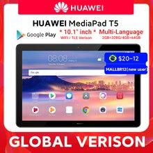 В наличии глобальная версия HUAWEI MediaPad T5 4 Гб 64 Гб планшетный ПК 10,1 дюймов Octa Core двойной динамик 5100 мАч Android 8,0