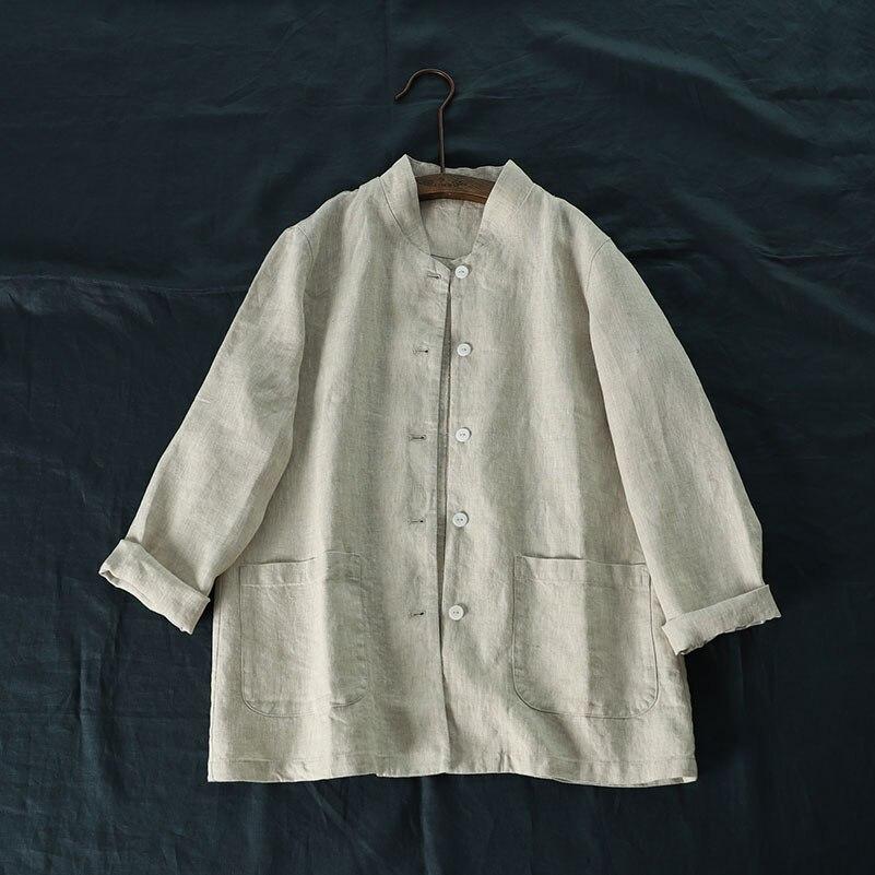 Printemps automne nouveaux arrivants décontracté lâche grande taille Style japonais Mori filles peau amical confortable 9*9 manteaux de lin