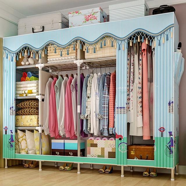 GIANTEXผ้าตู้เสื้อผ้าสำหรับเสื้อผ้าผ้าพับแบบพกพาตู้เก็บตู้ห้องนอนเฟอร์นิเจอร์
