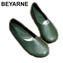 BEYARNE  Handmade Genuine Leather Women Plus Size Sewing Flat Moccasins Loafers Ballet Flats Women Comfortable Soft Casual Shoes
