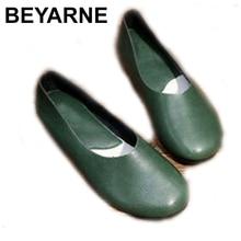 BEYARNE Handmade ของแท้หนังผู้หญิง PLUS ขนาดเย็บแบนรองเท้าแตะ Loafers บัลเล่ต์ผู้หญิงสบายรองเท้าสบายๆ