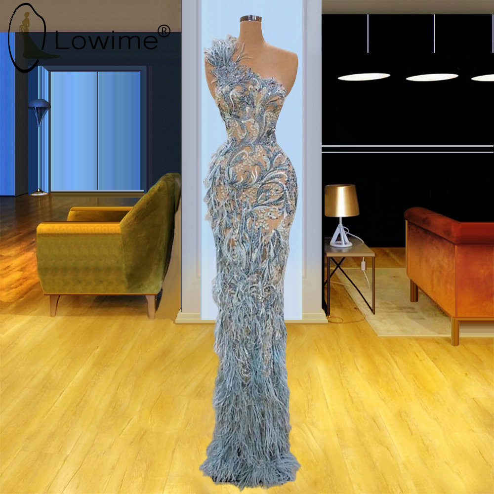 Elegant One Shoulder Mermaid Evening Dresses Feather Saudi Arabia Dubai Prom Party Gowns Robe De Soiree