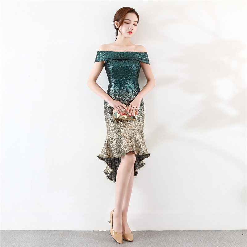 Off Shoulder Short Sequin Dress 2020 Gradient Luxury Fashion Elegant Red Carpet Annual Cocktail Party Zipper Fishtail Skirt