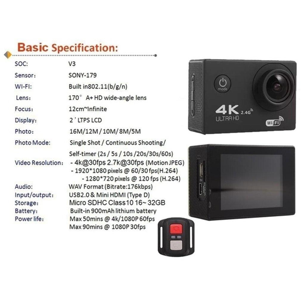 Hc1f8153c89bc4c66b410eb63b309dcado Pro Cam Sport Action Con Telecomando Camera 4k Videocamera Wifi Ultra Hd 16mp DVR Sports Outdoor Diving Bicycle Camcorder