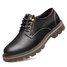 цена на Spring Mens Shoes Casual Men's Leather Shoes Men Lace-up Genuine Leather Shoes Men British Wild Tide Leather Shoes