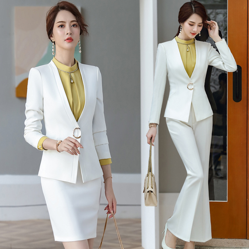 White Black Female Formal Women's Costumes Suits Classic Office Lady Business Pantsuit Blazer Trouser Suit Set Workwear Uniform