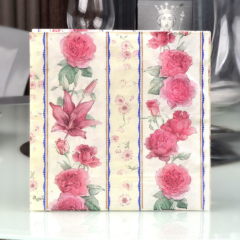 Factory Sale Colored Napkin Printed Paper Towel Wedding Banquet Wine Glass Flower Arrangement Paper Flower Mu Jiang Zhi 20