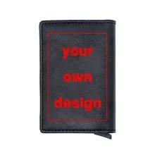 Wallets Card-Holder Your-Own-Design Rfid Custom Women Pu Short Purse Print DIY Logo/picture