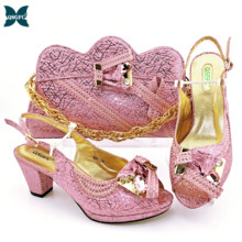 Women Shoes Rhinestone Elegant Pink-Color Italian-Design And Party with for Bag-Decorated