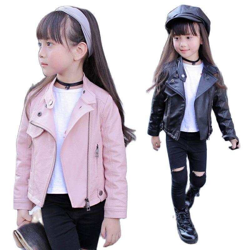 Pu Girls Teens Jackets Girl Kids Classic Collar Coats Teen Windbreaker Clothing Children's Outerwear 3-12 Years Girls Jackets