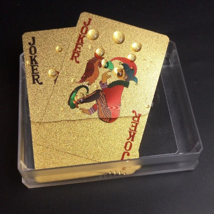 Unterhaltung Spielkarten Wasserdichte Karten Magie 24K Gold Spielkarten Poker Spiel Deck Goldfolie Poker Set Kunststoff Magie karte