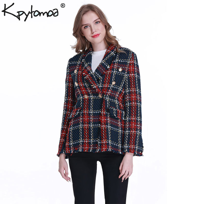 Image 4 - Vintage Double Breasted Frayed Checked Tweed Blazers Coat Women 2019 Fashion Pockets Plaid Ladies Outerwear Casual Casaco Femme-in Blazers from Women's Clothing