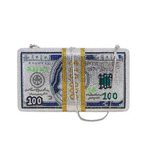 New crystal Money USD 100 bags Dollar Design Luxury Diamond Evening Bags Party Purse Clutch Bags No stock 30 days customized