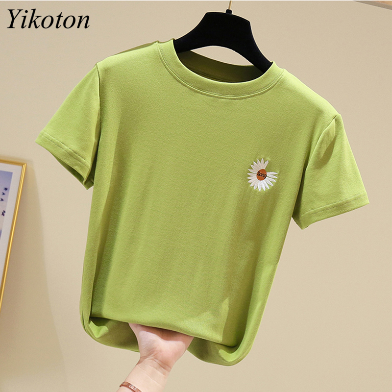 100% Cotton Womens T-Shirt Embroidery O Collar T Shirts Short Sleeve Clothes Women Slim Basic Tshirt Casual Top Tees For Female 4