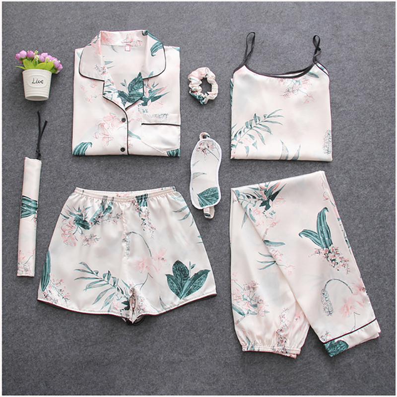 BZEL New Women's 7 Pieces Pajamas Sets Satin Nightwear Femme Sleepwear Spring Summer Autumn Casual Homewear Mujer Pijamas Pyjama