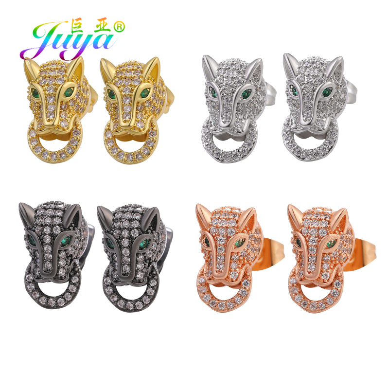 Juya 2020 Animal Leopard Jewelry Micro Pave Crystals Panther Head Stud Earrings For Women Men Personalized Jewelry Supplies