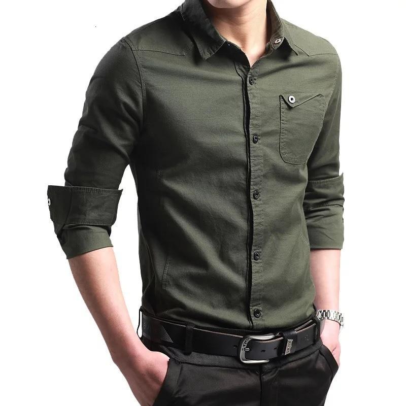 Good Quality Army Green Dress Jeep Men Shirt Airforce Uniform Military Mens Long Sleeve Slim Fit Camisa Masculina Cotton Shirts