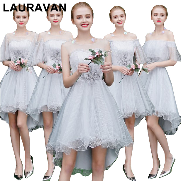 Girls Cheap 2020 Grey Short Front Long Back Lace Up Back High Low Bridesmaid Party Dresses Autumn Ball Dress For Weddings