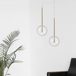 Modern minimalist pendant lights restaurant creative bedroom bedside bar gradient golden glass ball pendant light