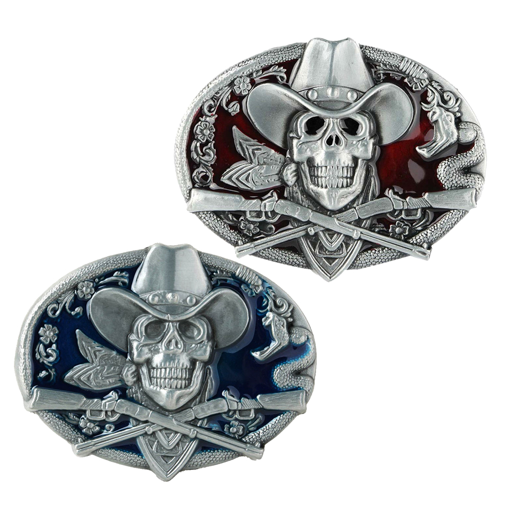 2Pcs Vintage Halloween Gothic Skull Skeleton Oval Belt Buckle For Mens Gifts  Belt Buckle Metal Fashion Buckles