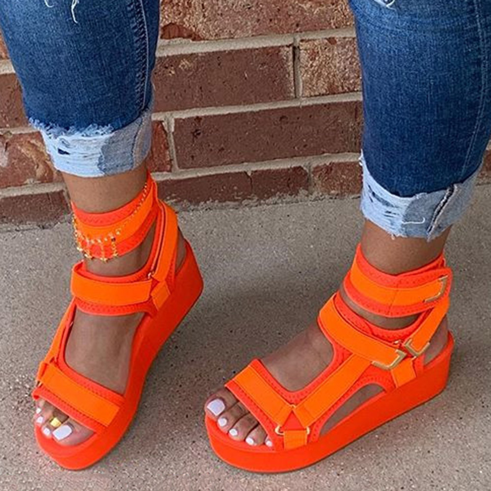 Women Sandals Hook & Loop Platform Open Toe Orange Sandals Women Flat Summer 2020 Outdoor Beach Shoes Women Sandals For Girils