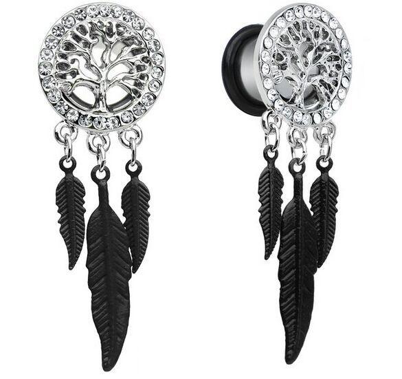 Ear Tunnels and Plugs Flesh 8-20mm Stainless Steel Dangle Gauges Earring Expander Set Eyelet Piercings Body Jewelry