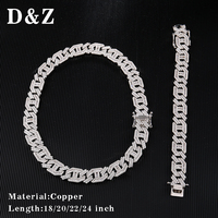 D&Z 1 Set 15mm Gold Silver Copper with Iced Out Bling CZ Prong Paved Miami Link Chain Necklace For Men Hip Hop Jewelry