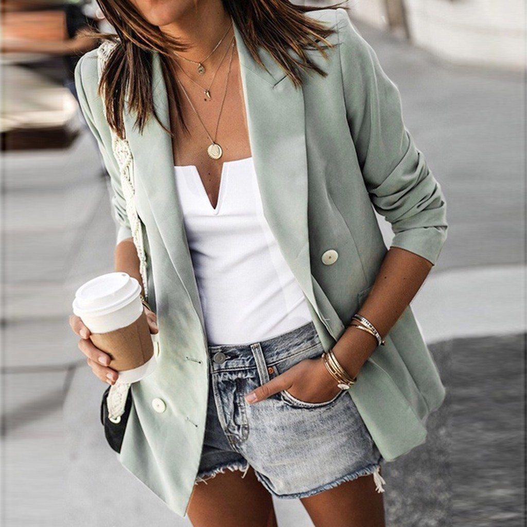 Elegant Casual Double Breasted Blazer Women Basic Notched Collar Solid Blazer Pockets Chic Tops Office Ladies Retro Suit Jackets