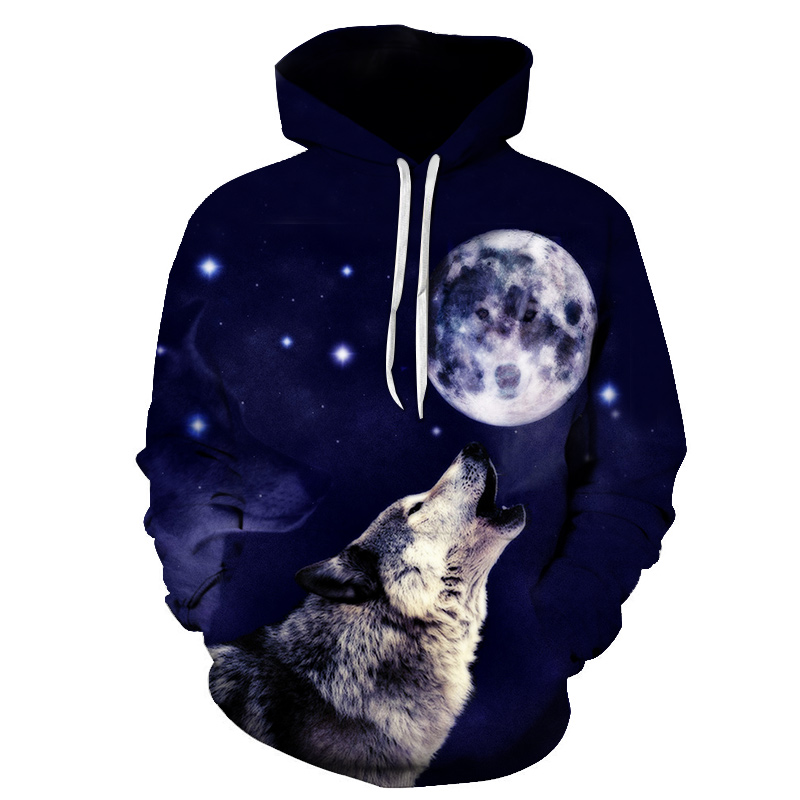 PINSHUN 3D Hoodies For Men Galaxy Wolf Prints Hooded Sweatshirt Cool Wolf Hoodie Pullovers Thin Style Men's Winter Jackets
