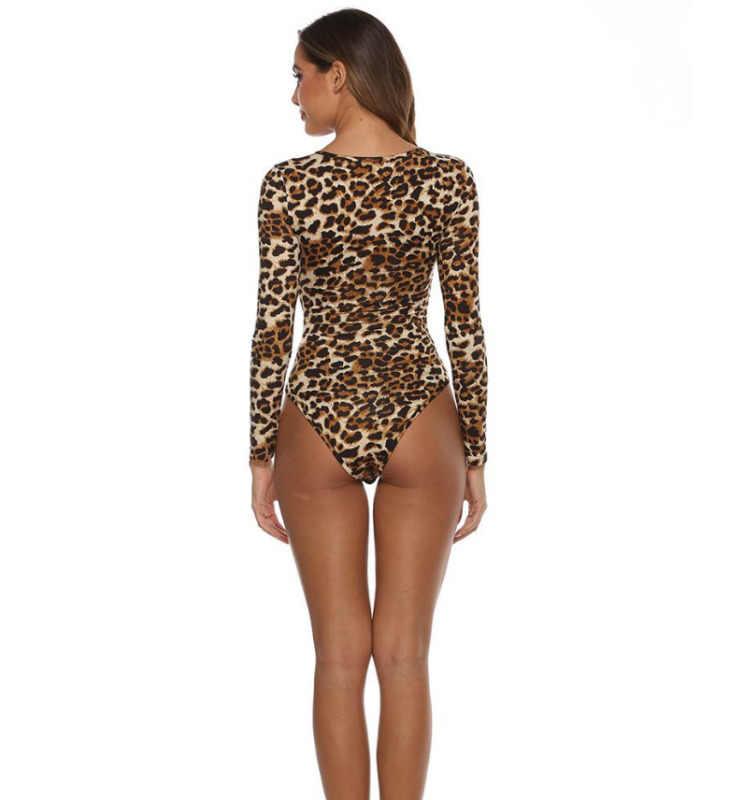Kadın moda yeni leopar Snakeskin baskı uzun kollu seksi V yaka gömlek Romper tulum ince Bodysuit bluz Tops